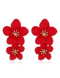 Fashion Red Flower Spray Earrings