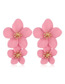 Fashion Pink Flower Spray Earrings