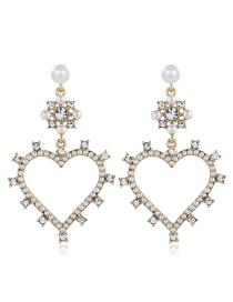 Fashion Gold Diamond Heart Earrings