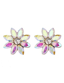 Fashion Ab Color Diamond Flower Earrings