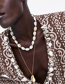Fashion Gold Alloy Resin Shell Double Necklace