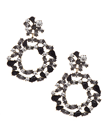 Fashion Black Alloy Diamond Round Earrings