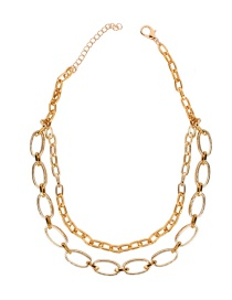 Fashion Gold Metal Double-layer Necklace