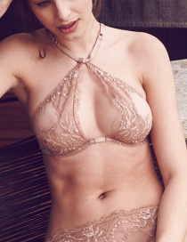 Fashion Color Hollow Hanging Neck Bra