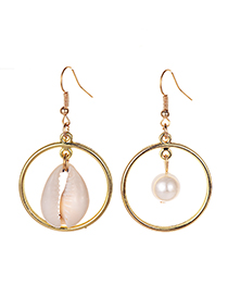 Fashion Gold Alloy Resin Circle Pearl Shell Earrings