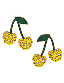 Fashion Yellow Alloy Studded Cherry Earrings