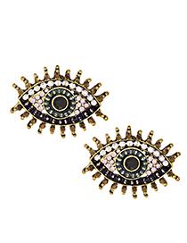 Fashion Black Alloy Diamond Eye Studs