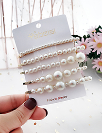 Fashion White Alloy Pearl Hair Clip Five-piece