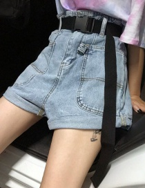 Fashion Blue Belt Denim Shorts