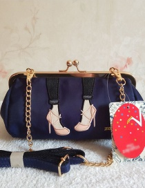 Fashion Navy Blue Beautiful Leg Embroidery Chain Mouth Gold Shoulder Diagonal Package