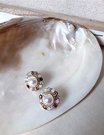 Fashion Round Contrast-studded Pearl S925 Silver Pin Stud Earrings