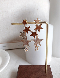 Fashion Gold 925 Silver Needle Star Pearl Circle Hollow Earrings
