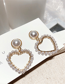 Fashion Love Silver Needle Five-pointed Star Pearl Earrings