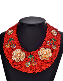 Fashion Red Alloy Resin Diamond Beads Flower Necklace