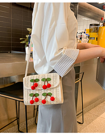 Fashion White Straw Cherry Shoulder Bag