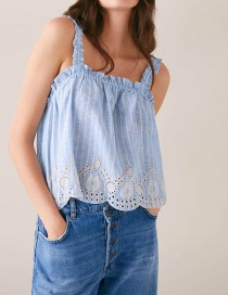 Fashion Blue Embroidered Striped Top