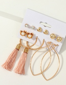 Fashion Pink Ring Tassel Pearl Earrings Set Of 6