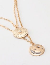 Fashion Gold Round Star: Moon And Diamond Necklace