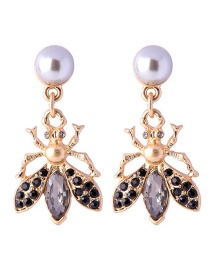 Fashion Brown Small Insect Pearl Stud Earrings