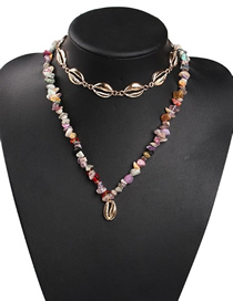 Fashion Color Alloy Resin Shell Double Necklace