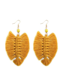 Fashion Yellow Alloy Wire Tassel Earrings