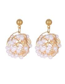 Fashion Gold Alloy Irregular Pearl Earrings