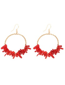 Fashion Red Copper Natural Red Coral Earrings