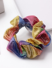 Fashion Small Dots - Multi-color Metal Rainbow Bronzing Double Color Hair Ring