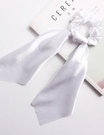 Fashion Pure White Satin Long Ribbon With Large Intestine Circle Flower