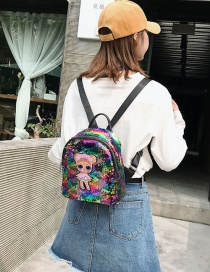Fashion Small Pink Cartoon Girl Sequin Backpack