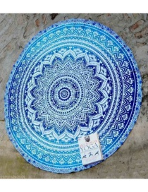 Fashion 30 Blue Round Peacock Flower Beach Towel