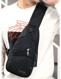 Fashion Black Charging Usb Diagonal Cross Chest Bag