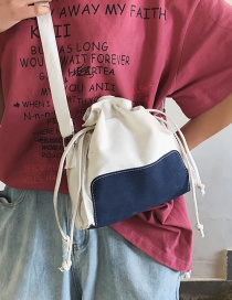 Fashion Blue Canvas Drawstring Stitching Shoulder Diagonal Bag