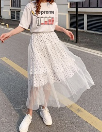 Fashion White Polka Dot Mesh Skirt