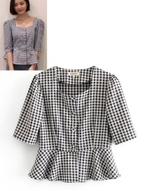 Fashion Black And White Plaid Ruffled Hem Shirt