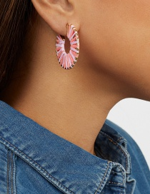 Fashion Pink Hollow Section Dyed Woven Earrings