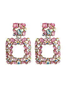 Fashion Pink Square Diamond Earrings