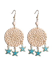 Fashion Blue Multi-layer Drop Oil Starfish Woven Earrings