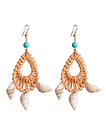 Fashion Brown Multi-layer Shell Woven Earrings