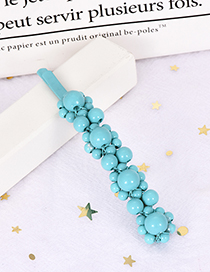 Fashion Blue Alloy Resin Word Bead Hairpin