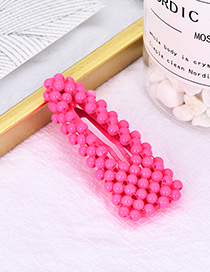 Fashion Rose Red Alloy Resin Triangle Bead Hair Clip