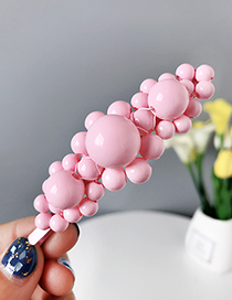 Fashion Pink Alloy Resin Irregular Bead Hairpin