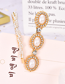 Fashion Gold Alloy Pearl Twist Hair Clip Two-piece