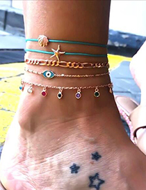 Fashion Gold Starfish Shell Eyes Studded Tassel 5-piece Anklet