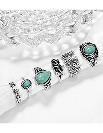 Fashion Silver Water Drop Turquoise Rose Knotted Open Ring Set Of 10