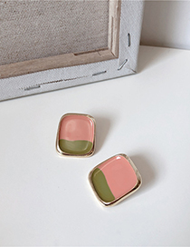 Fashion Pink Square Color Drop Oil Earrings