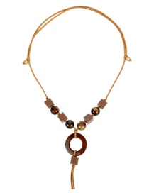 Fashion Brown Streaming Beads Knotted Tassel Adjustable Sweater Chain