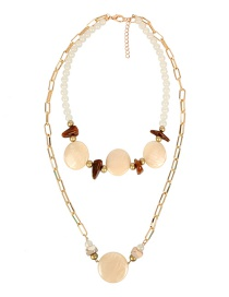 Fashion White Double Chain Beaded Necklace