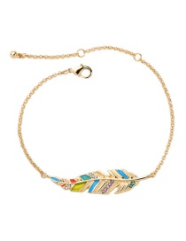 Fashion Gold Electroplated Drop Oil And Diamond Feather Bracelet