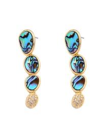 Fashion Golden Abalone Geometric Shell With Diamond Stud Earrings